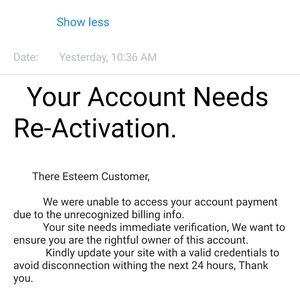 Other - BE AWARE,  NEW SCAM EMAIL! JUST DELETE IT.